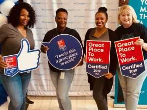 celebrating great place to work certification
